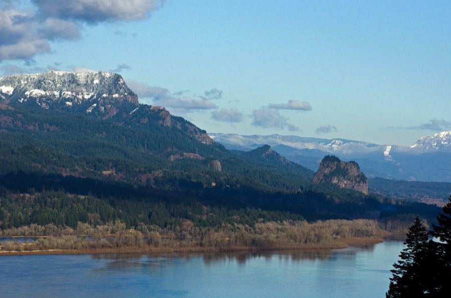 Reflections of Hamilton Mountain and Beacon Rock in the Columbia River