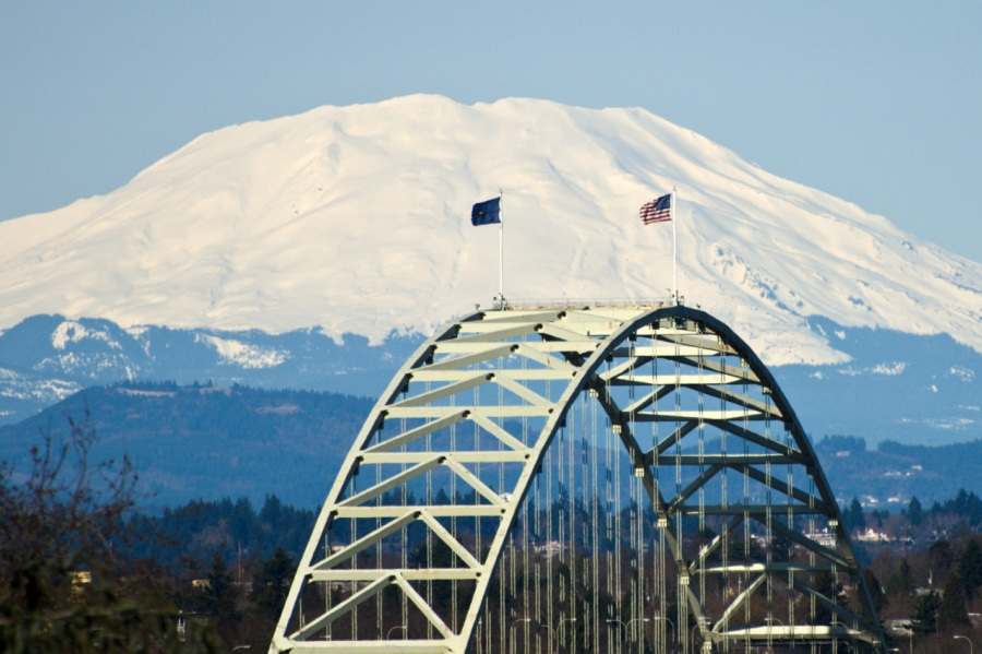 Mt. St. Helens behind the Fremont Bridge