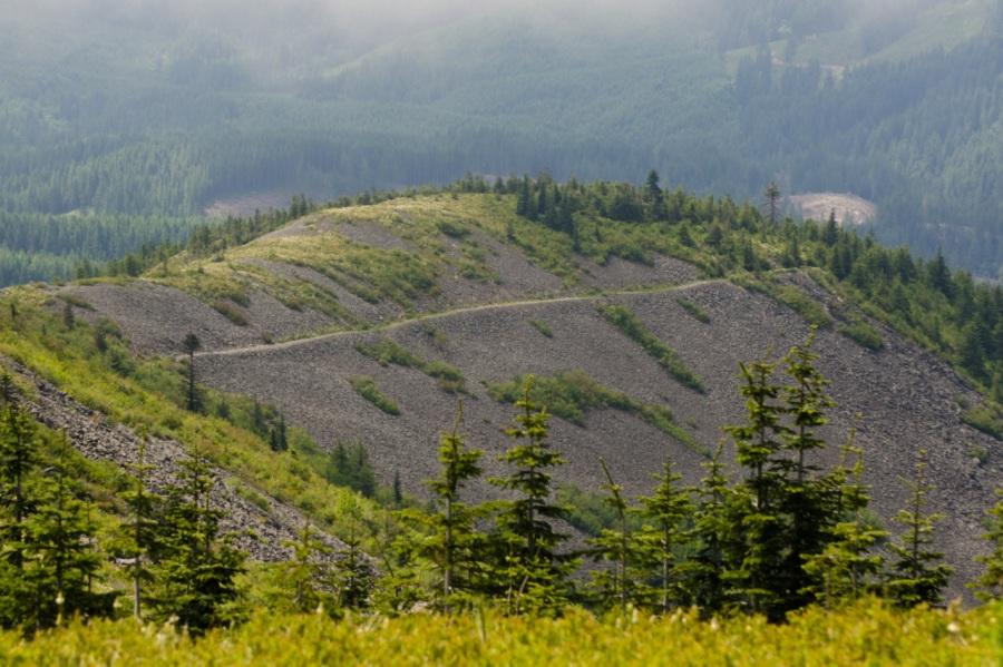 The trail far below