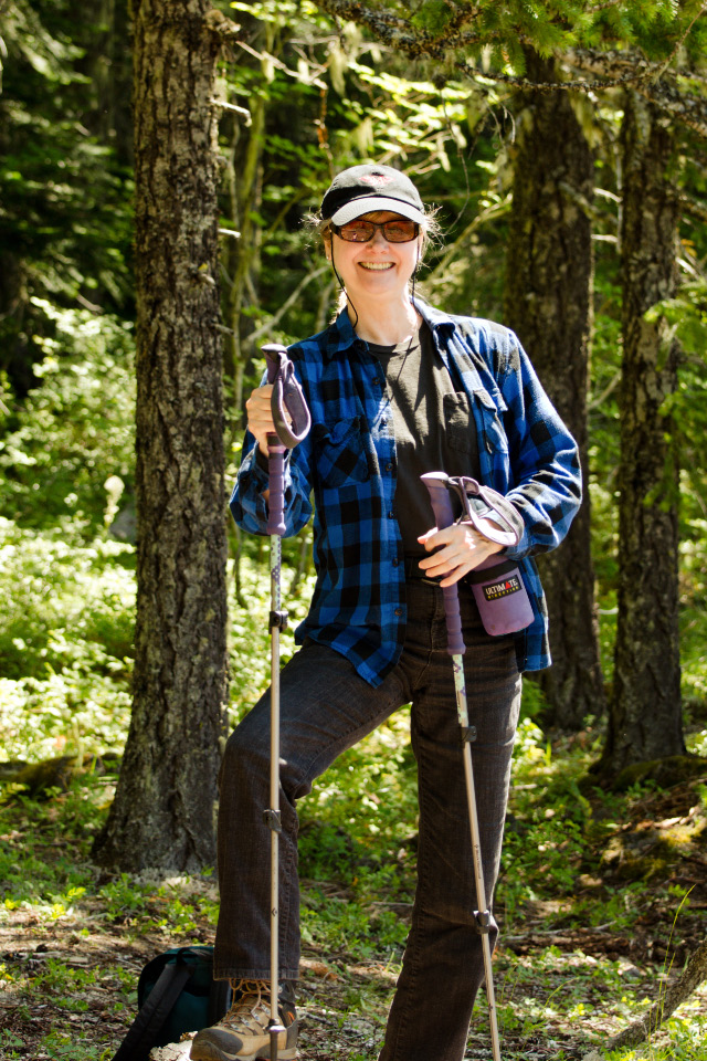 My Favorite Model with her new hiking poles