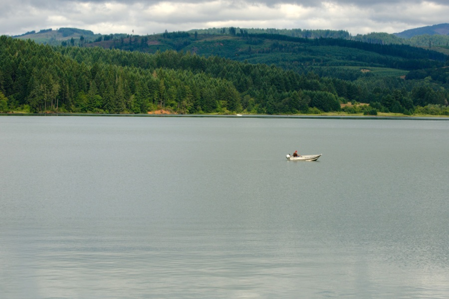 Solitary fisherman on the Lake