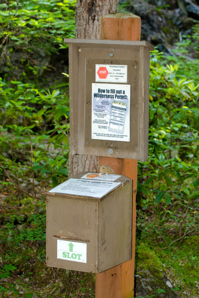 Sign-up box to enter the Mt. Hood Wilderness