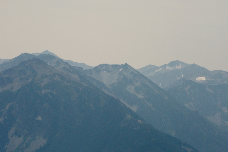 WIldfire smoke hindering the views of Mt. Aix and Nelson Ridge