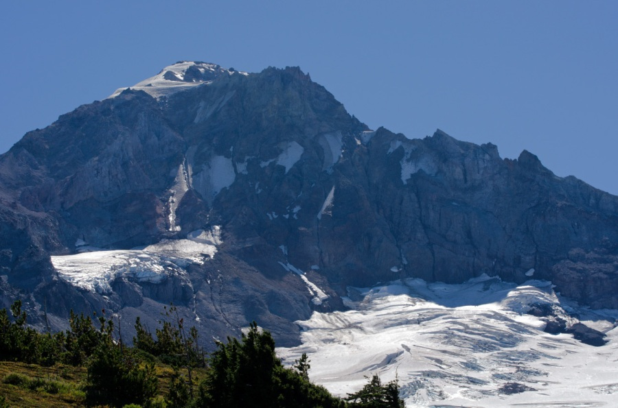 Cathedral Ridge and the Sandy Glacier below Mt. Hood's summit