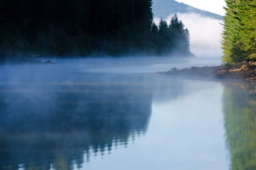 Early morning mist rising off of Timothy Lake