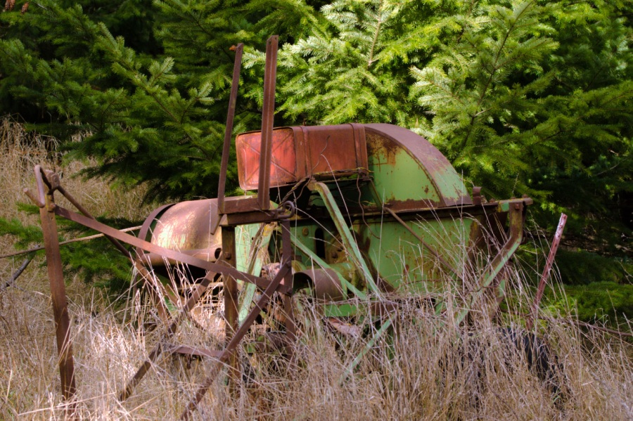 An old piece of farm equipment on the upper trail