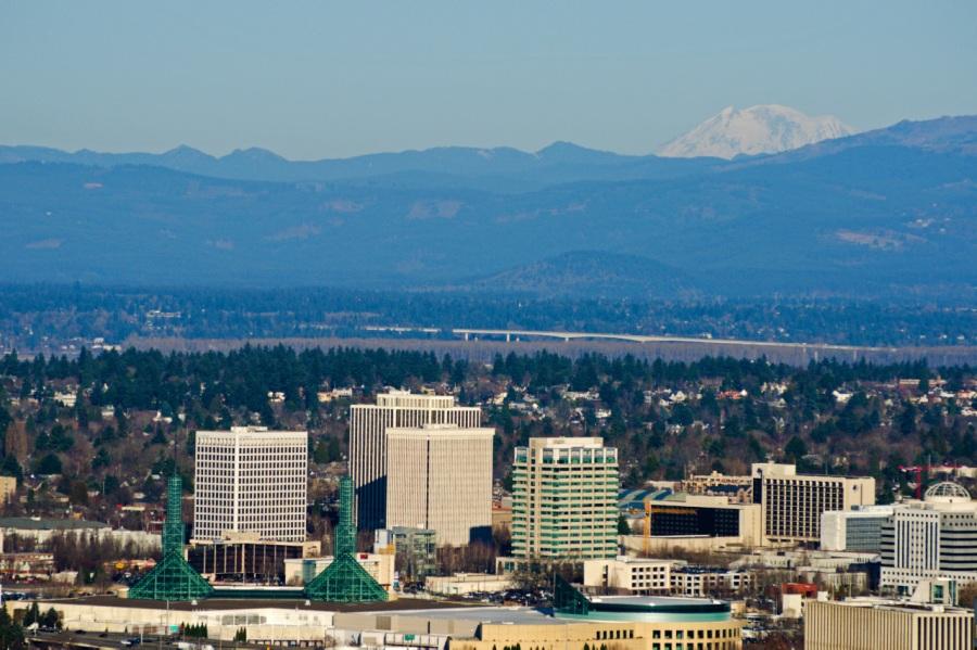 Mt. Adams behind downtown Portland