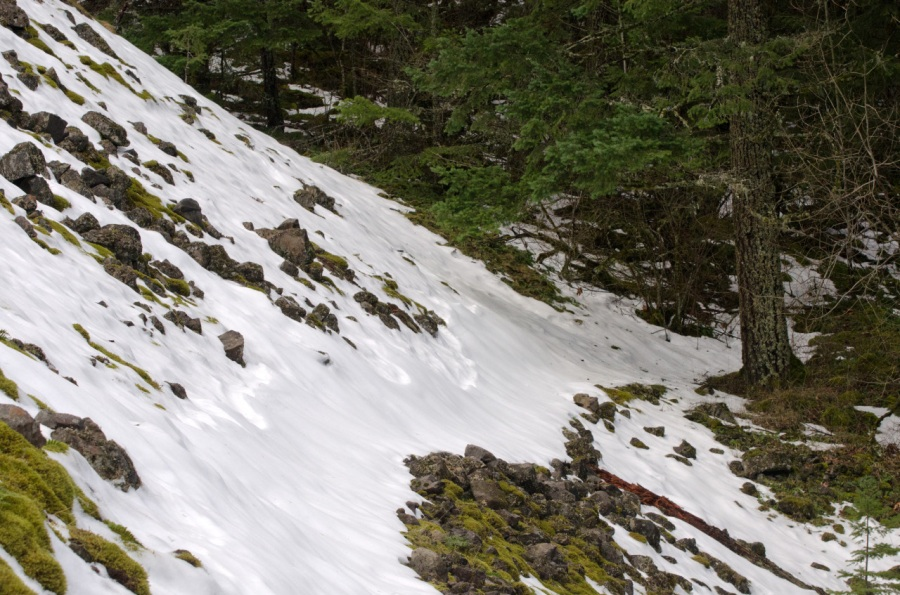 Snow-covered Trail crossing a talus slope