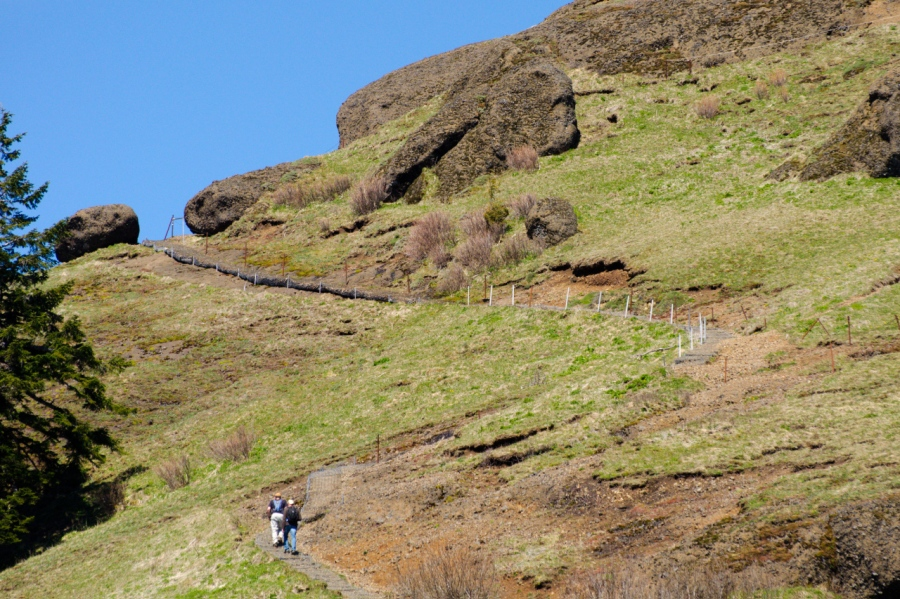 Hikers heading toward the summit