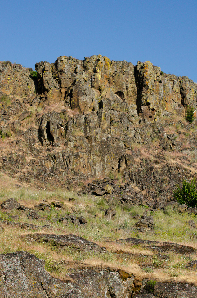 Basalt cliffs rearing above the Columbia RIver