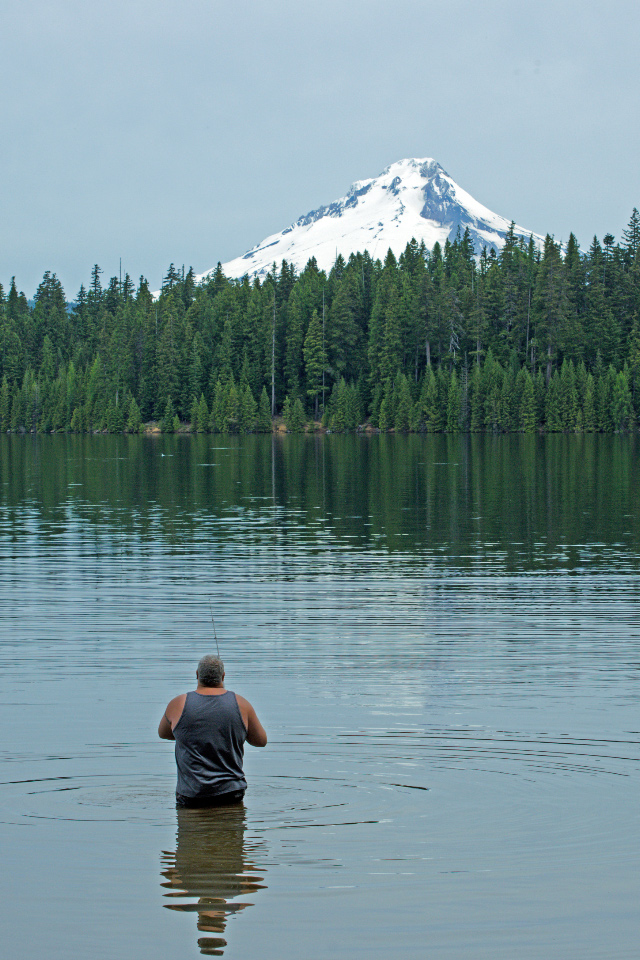 Mt. Hood reflected in Timothy Lake (is there a prettier place to fish?)