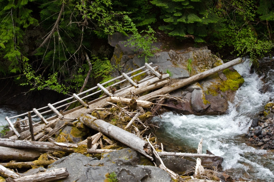 High spring flows are not kind to foot bridges