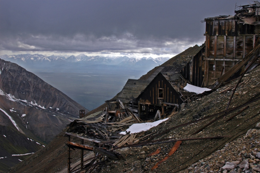 Storm look down the mountain from the Bonanza Mine buildings