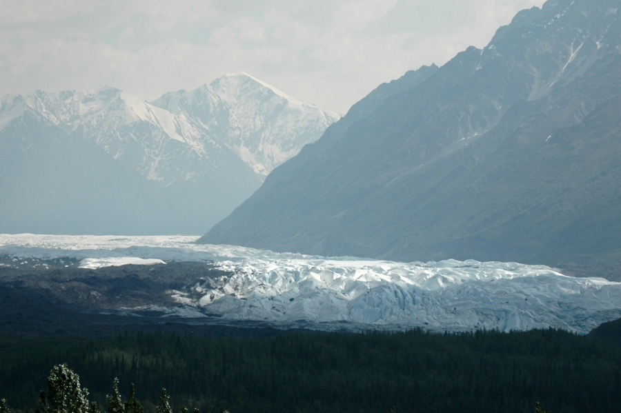 Early morning light on the Kennicott Glacier as we leave Wrangell-St. Elias