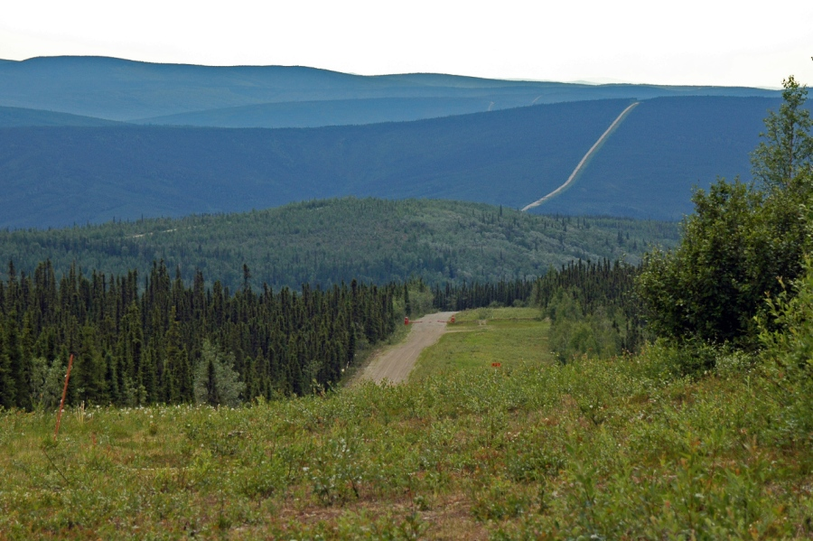Looking north to the Arctic Circle along the Trans-Alaska Pipeline