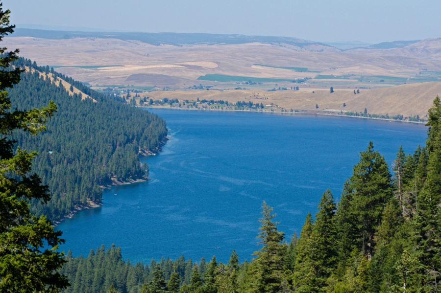 Looking down at the deep-blue waters of Wallowa Lake