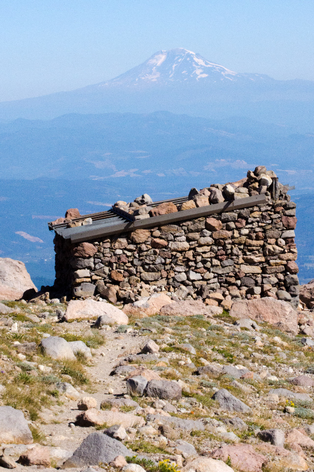 Stone Shelter on Cooper Spur Trail (Mt. Adams in background)