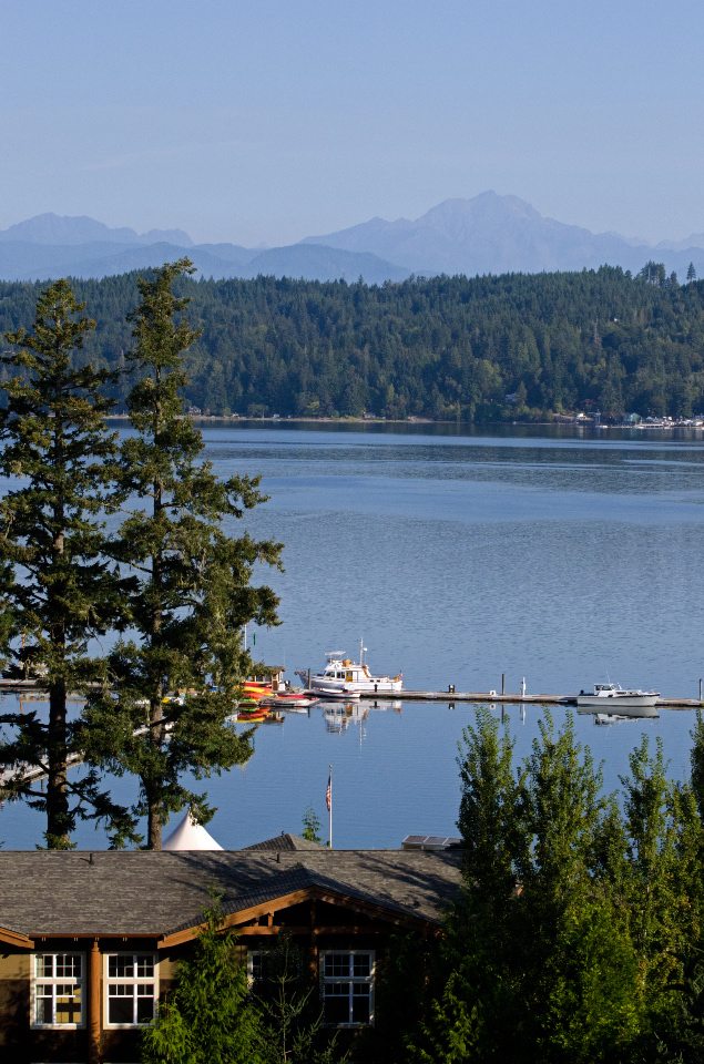 View of Hood Canal and Olympic Mountains from Alderbrook Resort