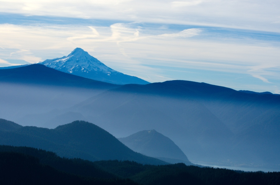 Looking over a very hazy Columbia River Gorge to Mt. Hood