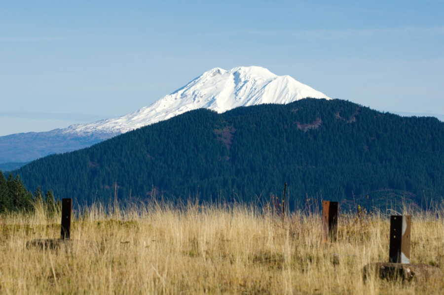 Mt. Adams from the remains of the old fire lookout site on Grassy Knoll