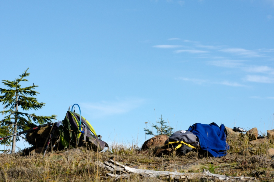 My gear taking a break on the summit of Big Huckleberry Mountain