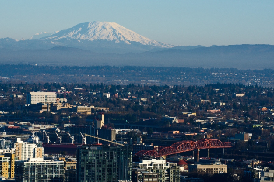 Mt. St. Helens over Downtown Portland
