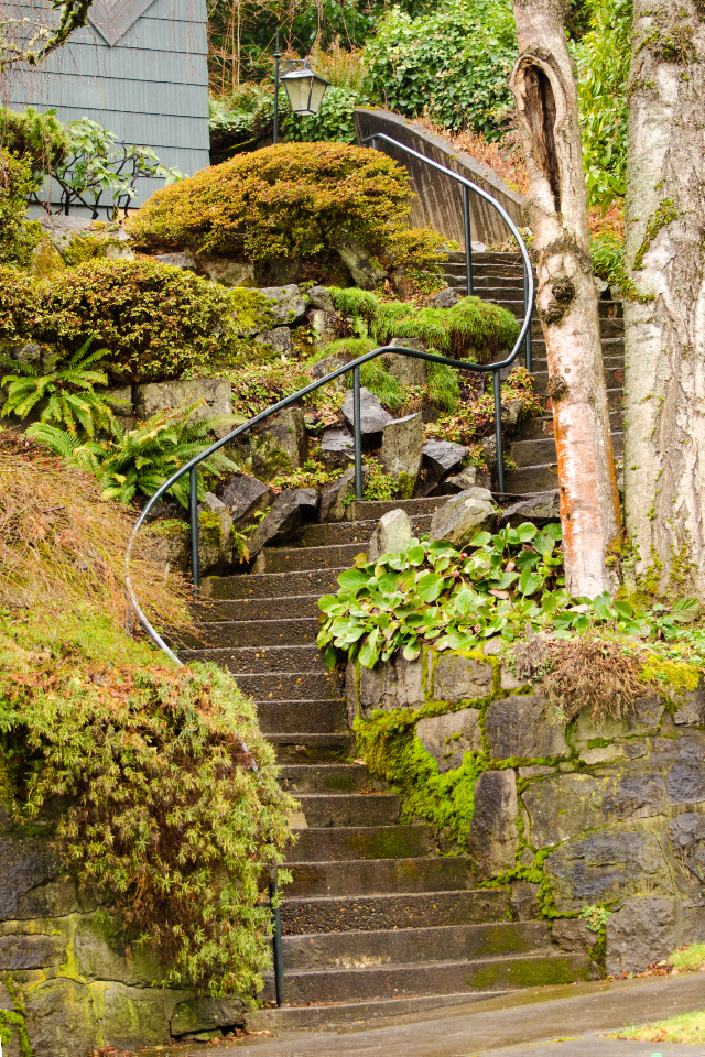 Spiral rock stair steps to an old home along the route