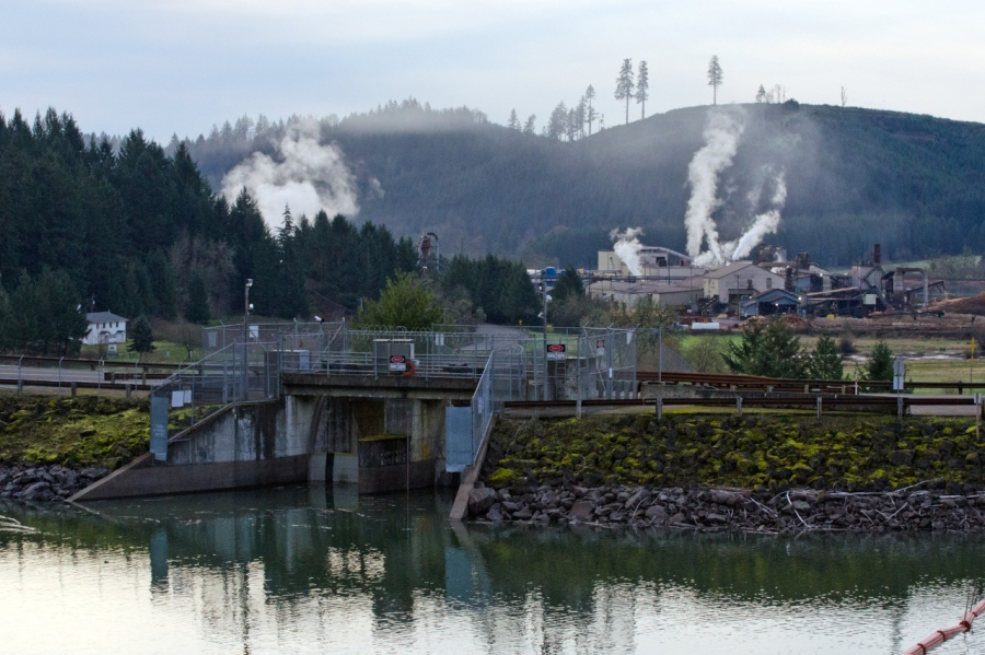 Stimson Lumber Mill below the reservoir