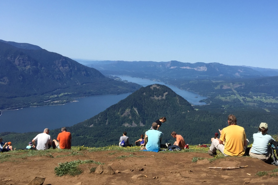 Hikers on the summit of Dog Mountain