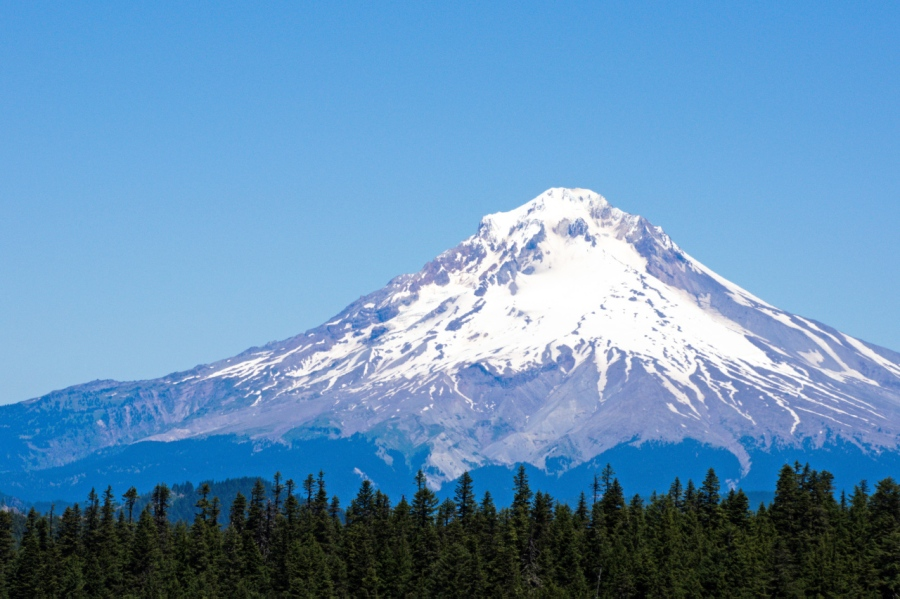 Mt. Hood from a viewpoint along the trail (a sharp eye can spot Paradise Park)