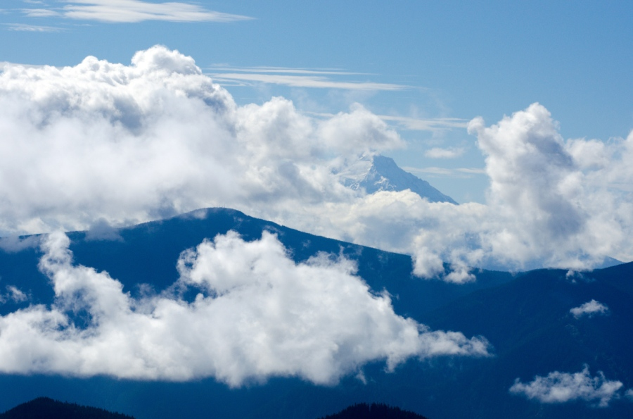 Mt. Hood peaking out of the clouds