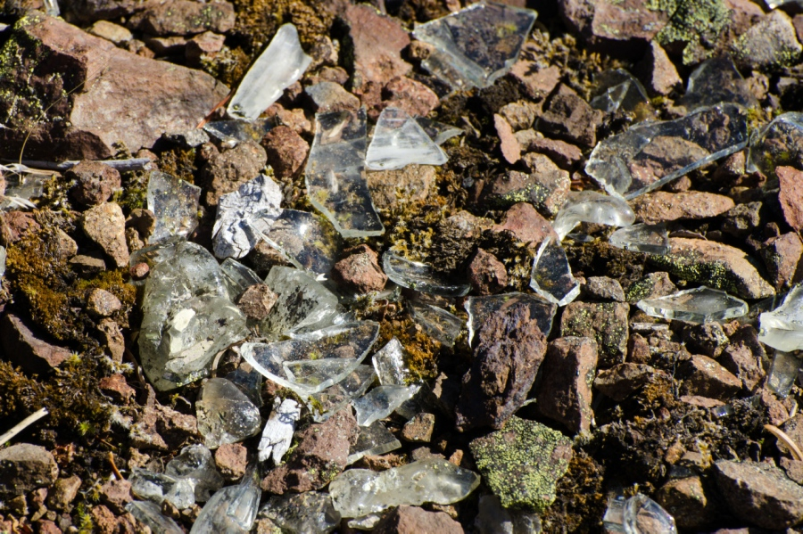 Broken glass remaining from the Huckleberry Mountain lookout site
