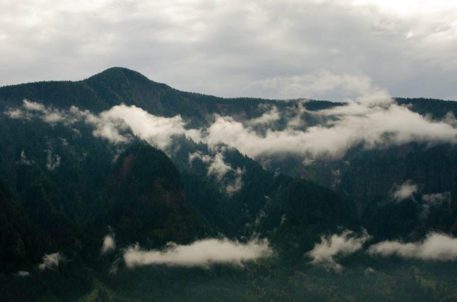 Low clouds hanging below 3,900-foot Nesmith Point