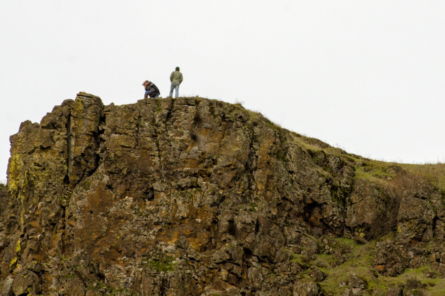Hikers on the cliffs