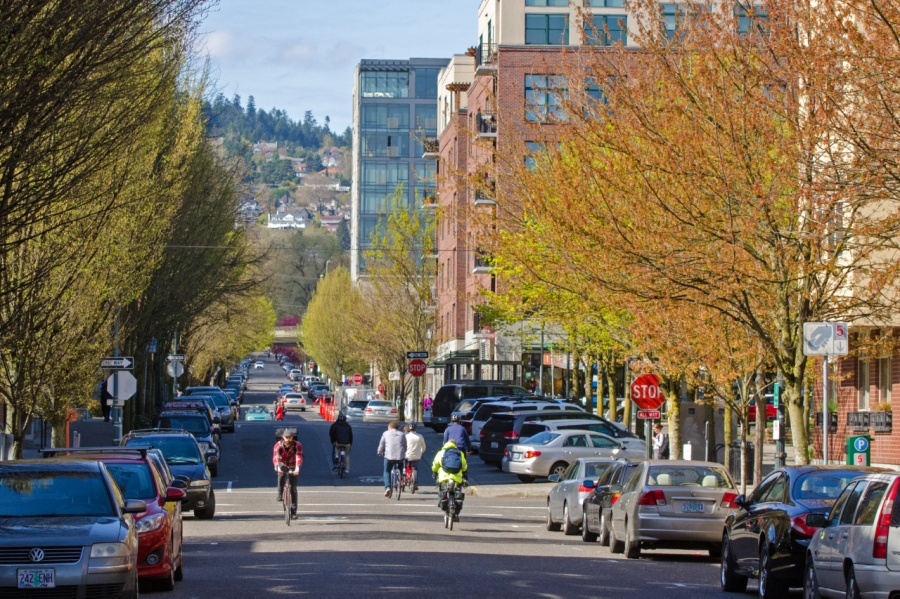 The Pearl District with the West Hills in the background