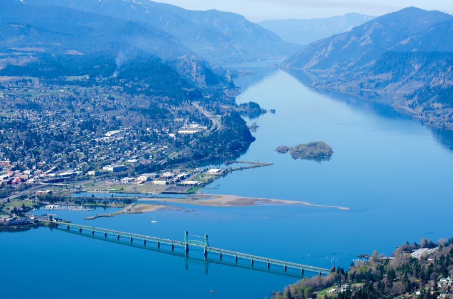 Looking down the Columbia River from the summit of Burdoin Mountain
