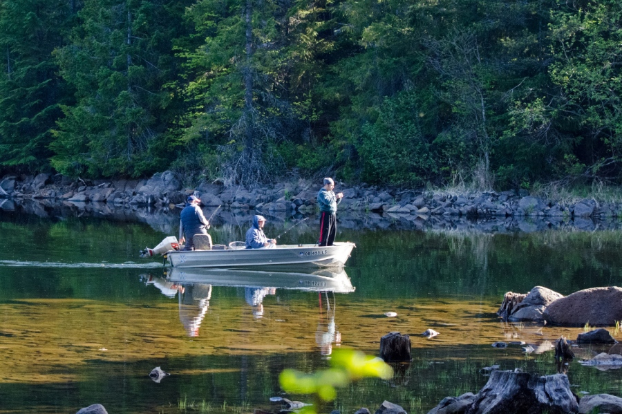 Fishermen chasing the wily trout