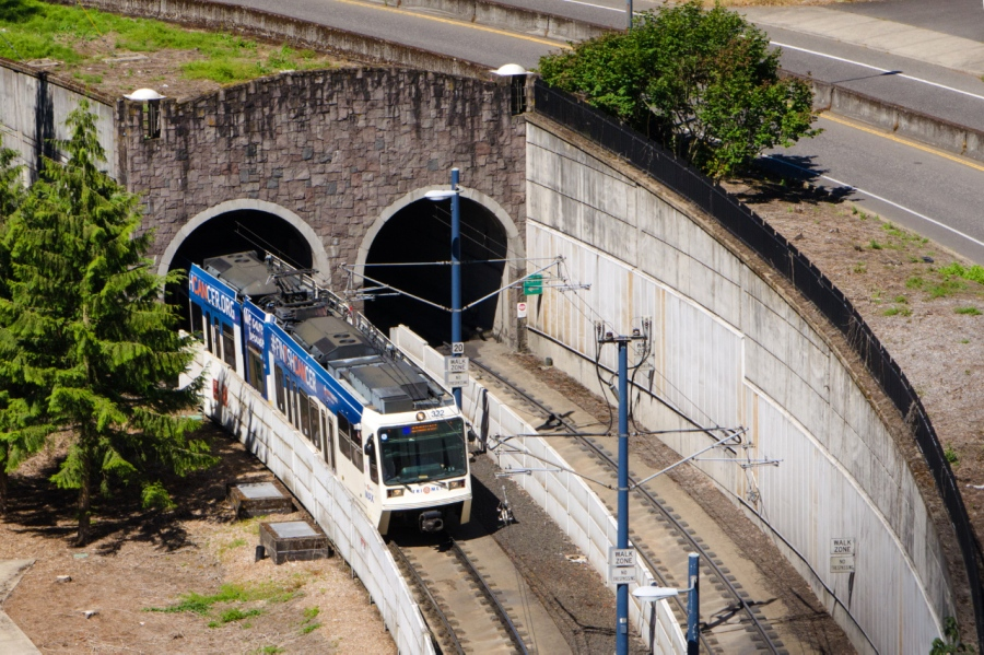 Light rail coming out of West Hills tunnel