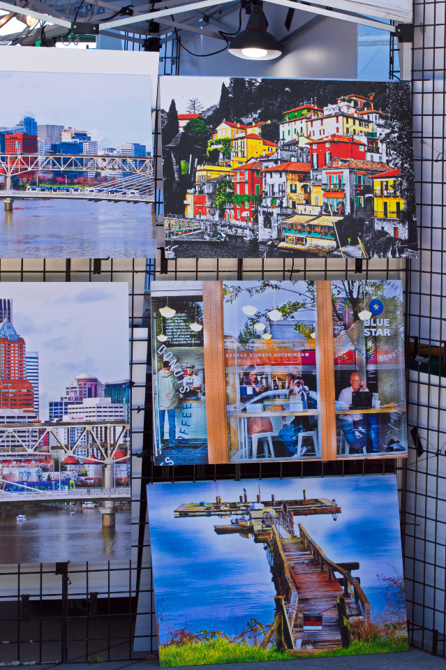 Colorful paintings for sale at the Portland Saturday Market