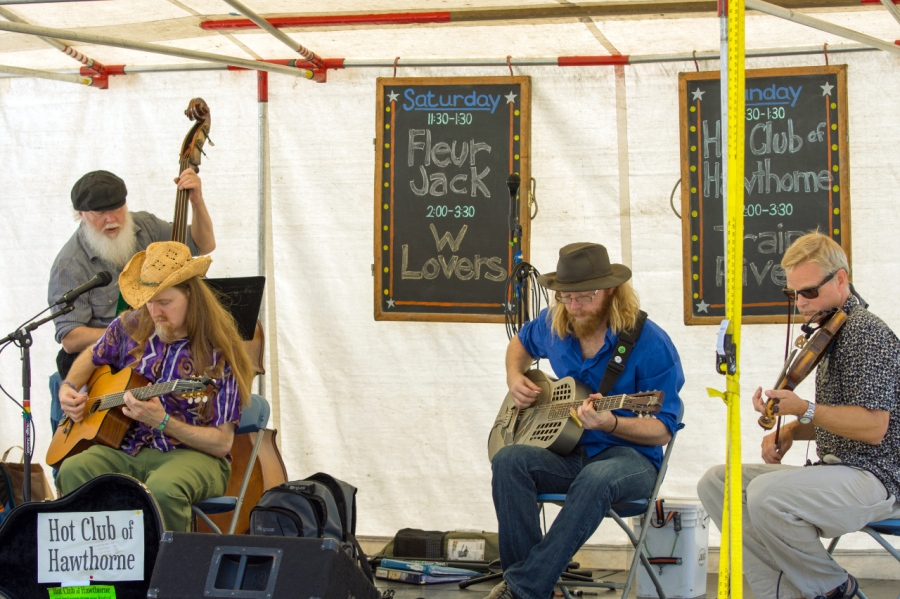 A band at the Portland Saturday Market