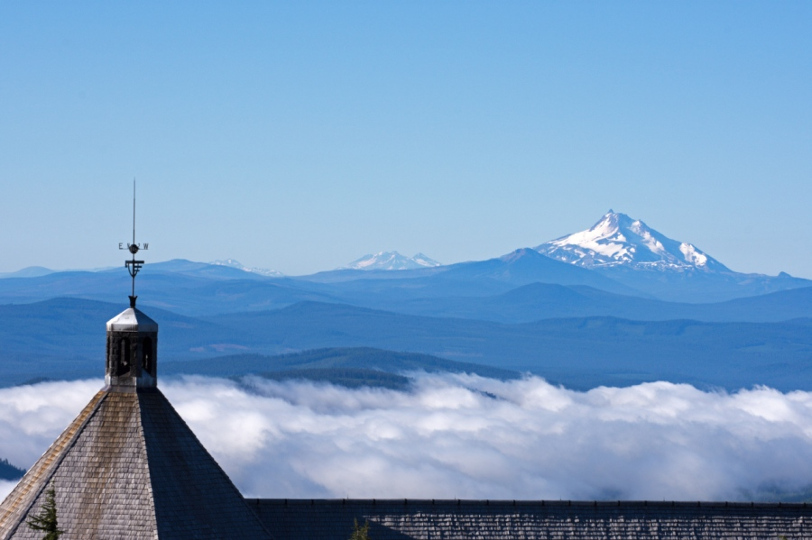 Mt. Jefferson behind the top of Timberline Lodge