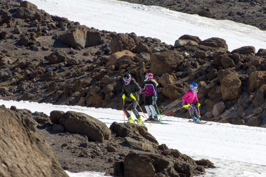 Skiers on the Palmer Glacier