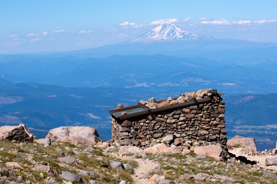Stone shelter on Cooper Spur with Mt. Adams in background