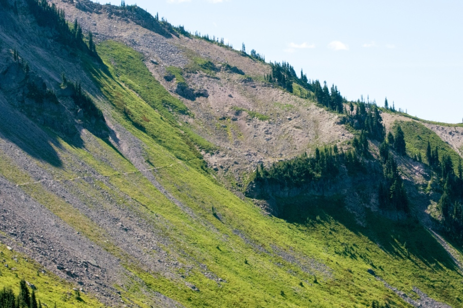 Trail crossing the headwall of Lily Basin