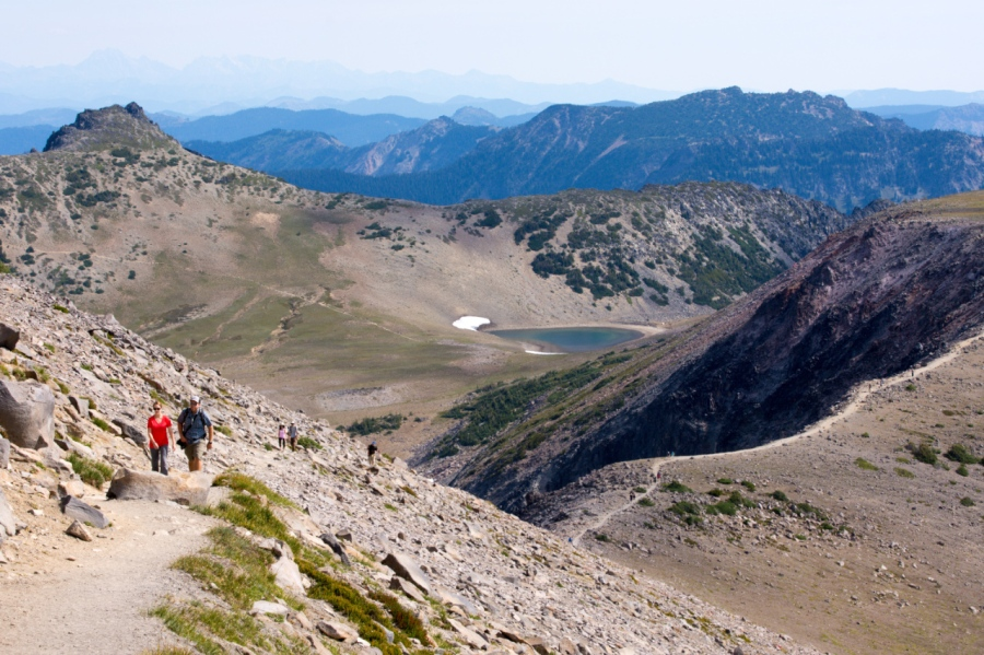 Hikers coming up the trail to Second Burroughs