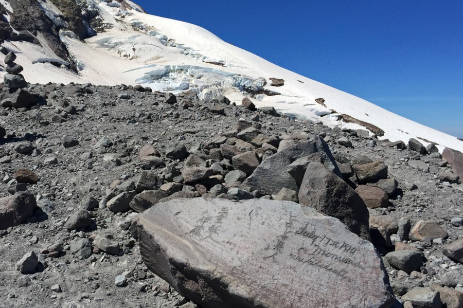 Inscribed Japanese Mountaineers' rock at 8,500'