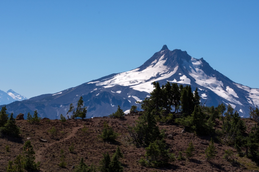 Mt. Jefferson behind the summit of Olallie Butte