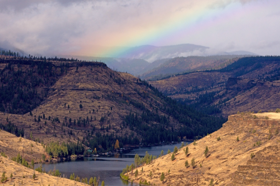A rainbow over Lake Billy Chinook