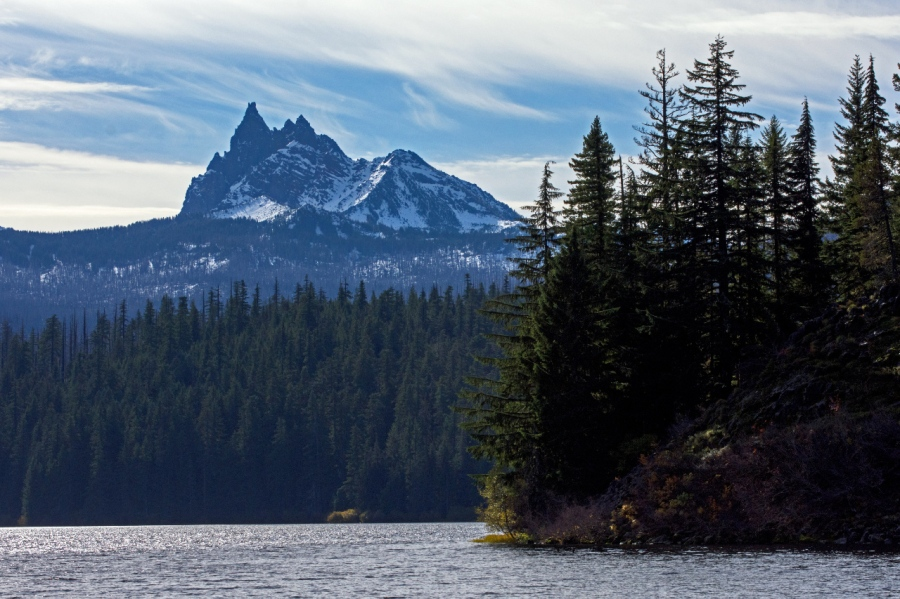 Three Fingered Jack over Marion Lake