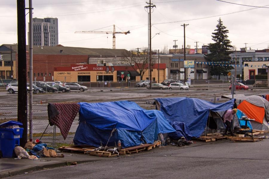 Homeless camp near the Esplanade